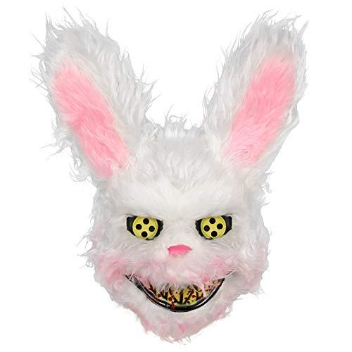 VAWAA Streich Böse Blutige Kaninchen Maske Plüsch Halloween Horror Maske Tier Hase Beängstigend Maske Plüsch Spielzeug Horror Killer Für Party-kostüm (Kaninchen Kostüm Streich)