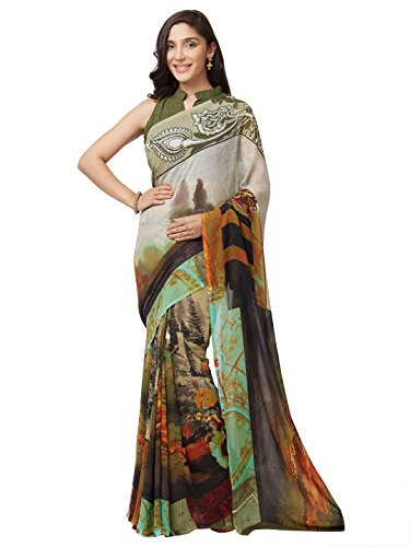 SOURBH Women's Faux Georgette Floral Printed Saree (7633_Green_FreeSize)