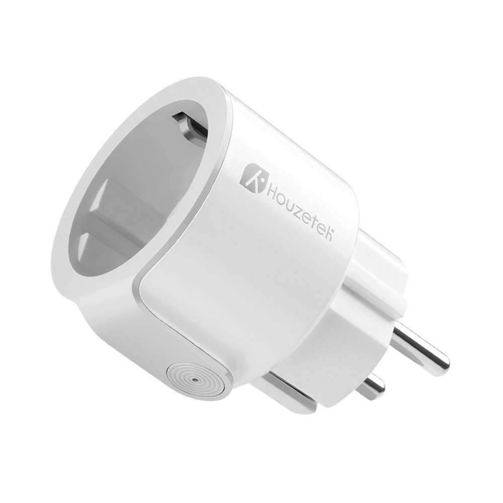 Enchufe Inteligente, Houzetek Enchufe Wifi Inteligente con APP soporte Alexa/Google Home, Enchufe Programable Wifi IFTTT de Control Remoto por Voz, Domótica Enchufe Wifi para Hogar Inteligente (Ronda)