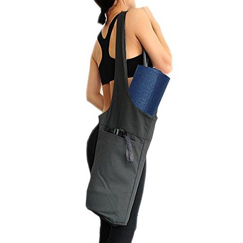 Yogatasche Segeltuch Yogamattentasche zum Umhängen für Yogamatte und Trainingsmatte mit Seitentasche (Grau)