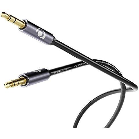 delightable24 - Cavo Jack Stereo Audio - Connettore Jack per ingressi AUX - Connettori in metallo placcati oro - Porta Jack 3,5mm / presa Jack 3,5mm - 5 metri - Nero/Grigio
