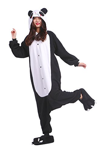 YUWELL Unisex Kigurumi Kostüm Anime Tier Cosplay Hoodie Onesie Erwachsene Pyjamas Cartoon Party Halloween Nachtwäsche (Red Tears Panda) Größe ()