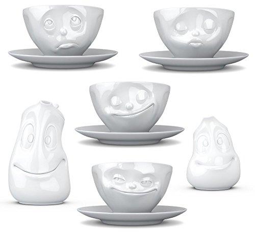 Fiftyeight 6er Set / 4 x Milchkaffeetasse mit Untertasse und Kanne Gut Drauf und Milchkännchen...