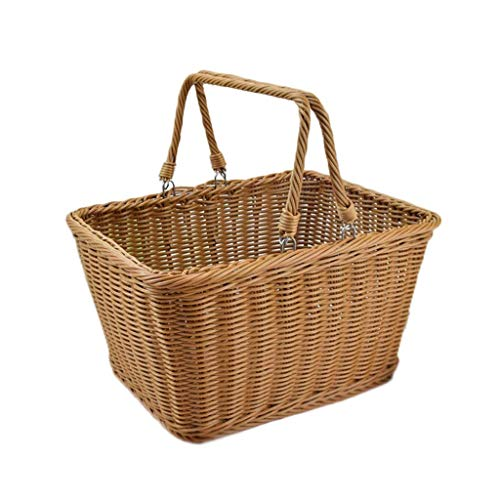 DJSMycl Schwenkgriff Picknickkorb Wicker Brown Picknickkorb (Size : M) - Brown Wicker