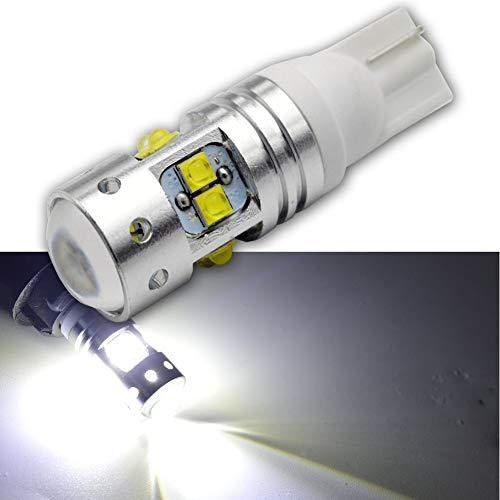 Ruiandsion Lot de 2 ampoules LED T10 CREE 10SMD Blanc 12-24 V pour feux de recul, feux de frein, feux de position latéraux