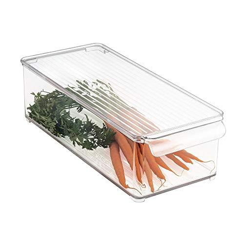Mdesign contenitore per alimenti da frigo in plastica trasparente - ideale contenitore con coperchio per frigo o freezer - portaoggetti frigo per una casa super ordinata