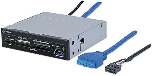 Manhattan 101974 Multi-Card Reader/Writer (USB 3.0, 8,9 cm (3,5 Zoll)-Einbau, 34-in-1, liest SIM-Karten und Smart Card) schwarz