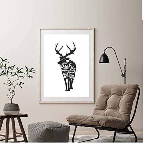 Czxmp Animal De Inspirational Quote Machen Sie Ihre Eigenen Träume In Eine Realität Leinwand Kunst Malerei Für Wohnzimmer Wanddekoration Kein Rahmen50 * 40Cm -