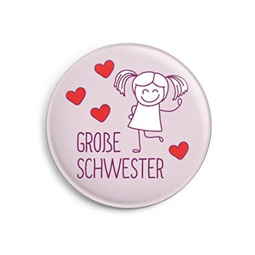 dabelino Button Große Schwester (Ø31mm) mit Karte | Geschenk zur Geburt | Premium-Qualität Made in Germany