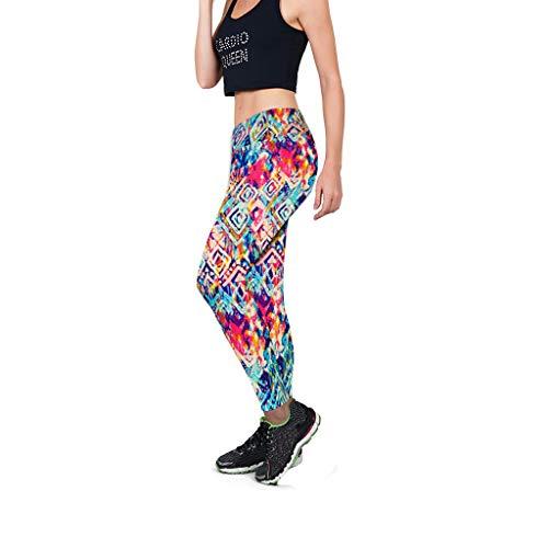iYmitz Damen Strumpfhose Sport Print Yoga Stretch Leggings Workout Pilates Fitness Running Pants Mehrfarbig(Mehrfarbig,L)
