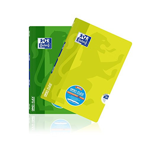 OXFORD 400095632 Schulheft OpenFlex 10er Pack A4 32 Blatt Lineatur 26 - kariert mit weißen Rand grün & zitrone (Zitrone Blatt)