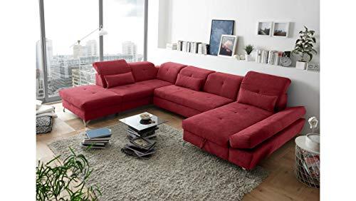 JUSTyou Philadelphia Wohnlandschaft Polsterecke Couchgarnitur (HxBxL): 73x245x350 cm Links Rot