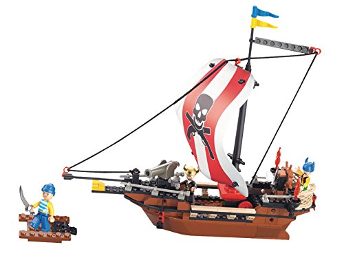 Funstones - Bausteine Großes Piraten Schiff + Figuren Pirat + Kanone Piratenschiff Baustein Bausatz Set Bau Steine