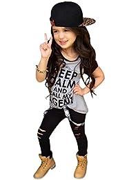 Koly 1 PC muchachas del niño de la técnica de impresión de ropa camiseta tops + 1 PC pantalones largos pantalones