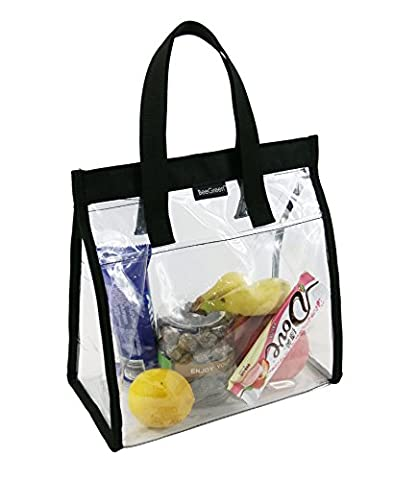 Clear Lunch Bags Tote for Women and Men w Front Pocket and Velcro Closure, Waterproof PVC Vinyl Lunch Box Bag for Kids
