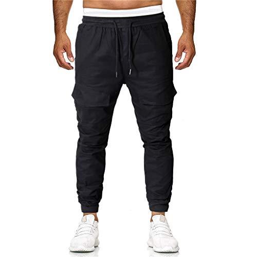 Mymyguoe Herren Jogginghose Leichte Sporthose für Männer komfortable und Loser Passform Herren Jogging Hose Streetwear Sporthose Modell Herren Jogger Streetwear Sporthose [Schwarz,S]