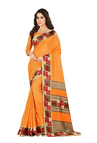 Ethnic Indian Womens Collection Orange Coloured Art Silk Designer Saree With Blouse...