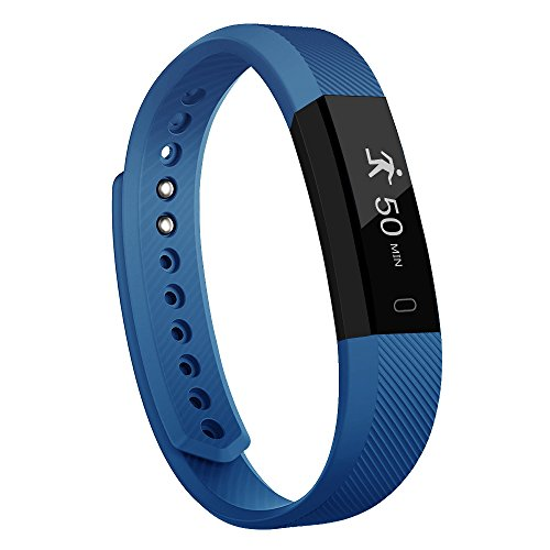 moreFit Slim Fitness Tracker Smart Fitness Bracelets Activity Pedometer Wristband Sleep Tracker Touch Screen Smartwatch for Android and IOS Smart Phones, Blue