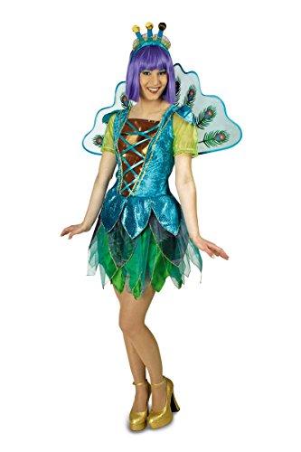 Sexy Pfauen Kleid mit Flügel und Haarteil (44-46)