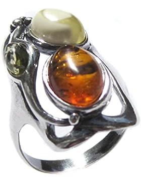 Mehrfarbig Bernstein Sterling Silber Designer Ring