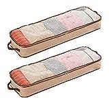 BUONDAC (ca. 100 * 32 * 14cm) 2 Stücke Unterbettkommode mit Sichtfenster und Haltegriffen Unterbett Aufbewahrungstasche für Kleidung Kissen Decken Matratze Bettzeug Aufbewahrung Taschen