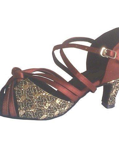 shangyi Latin anpassbare Femme San Dalen anpassbare Talon Satin avec haut étincelants Chaussures de danse - Marron