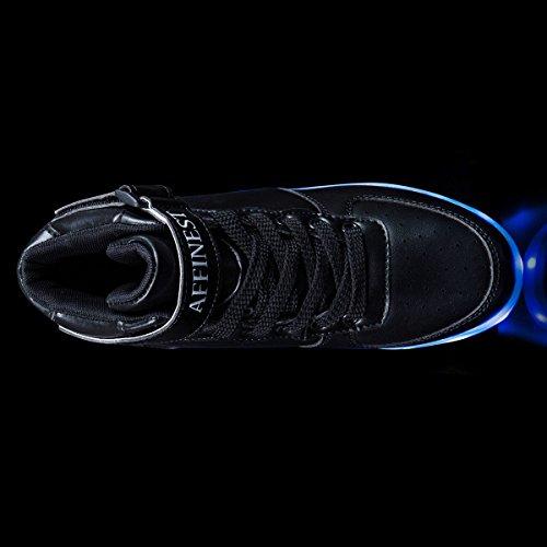 AFFINEST Unisexe chaussures enfant High Top LED chaussures clignotant chaussures de sport pour les enfants Noir