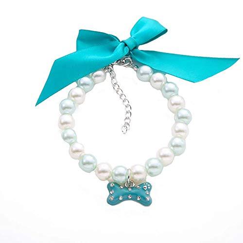Rodite Pet Collar Imitation Pearls Haustier Schmuck Halskette mit Bling Pearls Strass Knochen Charme für Hund & Katze einstellbar und handgefertigt-Hellblau -