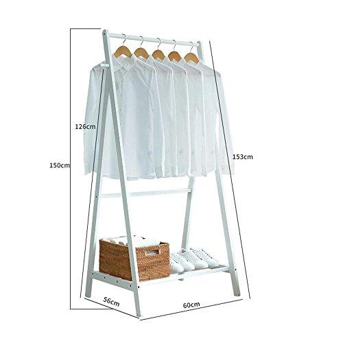 Xiaolin Solide Bois Manteau Rack Chambre Simple Maison Multifonctionnel Européenne Vêtements Rack Hanger Type de Sol en Option Couleur, Taille (Couleur : Blanc, Taille : L60cm)