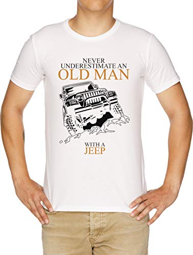 Never Underestimate An Old Man Jeep Camiseta Hombre
