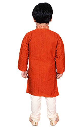 Jungen Indian Sherwani Kurta mit Pyjama für Bollywood Thema Party Outfit Eid London 900 Orange