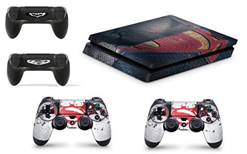 Gizmoz n Gadgetz GNG Adesivi in Vinile per PS4 Slim con Il Logo di Superman per Console E per 2X Controllers