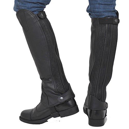 Riders Trend Erwachsene Reiterchaps Vollnarbenleder Mini Chaps - Gaiter Leder mit Doppel Elastischen Dehnung, 10024174, Schwarz (Black), XXL