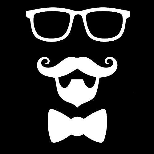 haotong11 10cm * 13cm Schnurrbart Bart Krawatte Junge Mode Aufkleber Abziehbilder Auto Styling Schwarz/Silber 5 Stück
