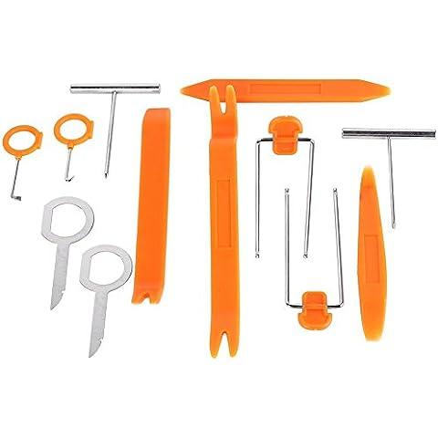 12x Leve Utensili Auto Rimozione Pannelli Pry Arancione Argento Plastica Metalli