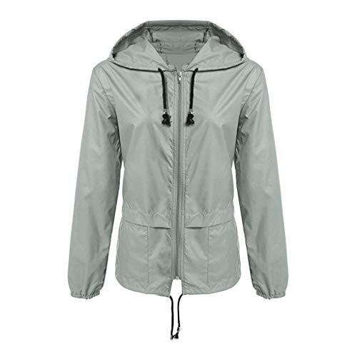 Supertong Damen Mantel Regenjacke Outdoor Mit Kapuze Wasserdicht Winddicht Regenmantel Windjacke Frauen Hoodie Einfarbig Reißverschluss Sport Jacke Windbreaker Übergangsjacke