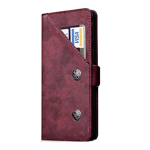FQIAO Samsung Note 8 Schutzhülle, Ständer PU Leder Full Präzise Business Defender mit zwei Arten von Langlebig Kartenschlitz für Samsung Note 8 2017 Release rot rot
