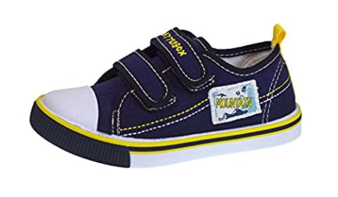 Kids Boys Canvas Pumps Toddlers Beach Summer Shoes Velcro Trainers 4 UK Toddler Navy Two Strap