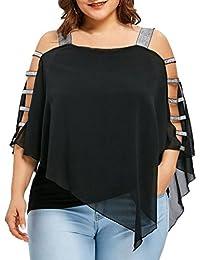 Zarupeng-Blusa y Camisas Casual de Manga Corta Elegante Camisetas Mujer  Manga Corta Ladder Cut 7baaf0cfcdb