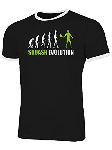 Squash Evolution 534 Sport Shirt Tshirt Fanartikel Fanshirt Männer Sportbekleidung Herren Ringer T-Shirts Schwarz Weiss Aufdruck Grün L