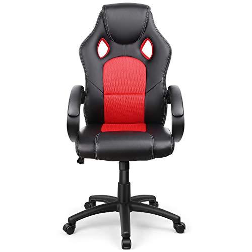 Intey sedia gaming,sedia da ufficio,sedia girevole direzionale regolabile ergonomica,poltrona girevole con ecopelle schienale alto disegno e altezza regolabile(nero e rosso)