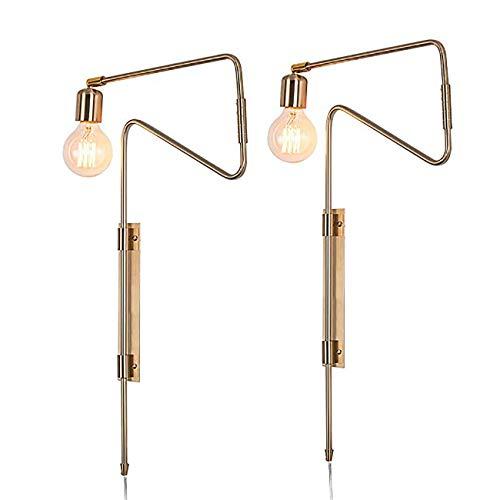 BERGHT Vintage Swing Arm Wandleuchte mit Stecker +1,5 Netzkabel Retro Industrielle Wandlampe Mit Schalter Messing Beschichtung Lampe Nachtwandlampe für Schlafzimmer-Wohnzimmer-Studie 2 Stück,Gold -