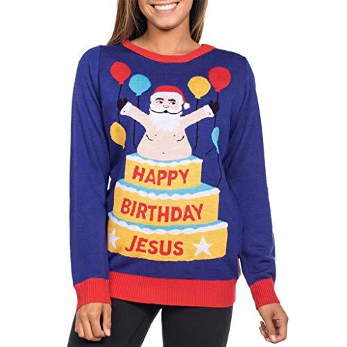 Soupliebe Damen Herbst Winter Weihnachten Druck Langarm Sweatershirt -