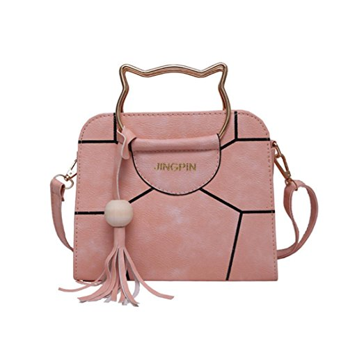Zarupeng Mädchen Nette Katze Handgriff Handtasche Leder Crossbody Umhängetasche Pink