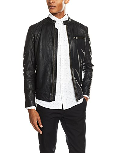 SELECTED HOMME Shnnew Tylor Leather Jkt Noos, Giacca Uomo, Nero (Black), Large