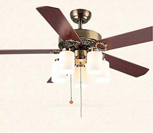 IV-ydzxx Ventilador de Techo Retro de 52 Pulgadas con luz y Control...