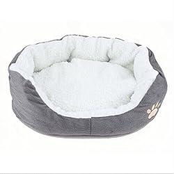 "Life-Mall Cama para Gatos y Perros tamaño:7.87*3.9*2.32 ""Gris,con Forro Redonda u Ovalada Amortiguador Suave Para Pequeña Mascota"