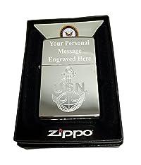 Zippo Custom Lighter - U.S. Navy Laser Engraving with Anchor Logo - Regular High Polish Chrome FREE ENGRAVING