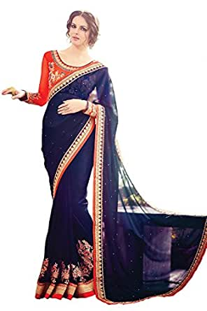 Magneitta Women's Georgette Saree with Blouse Piece, Free Size (73, Blue)