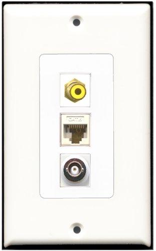 RiteAV-1Port RCA gelb und 1Port BNC und 1Port Cat6Ethernet White Decora Wall Plate Decora Decora Insert Plate